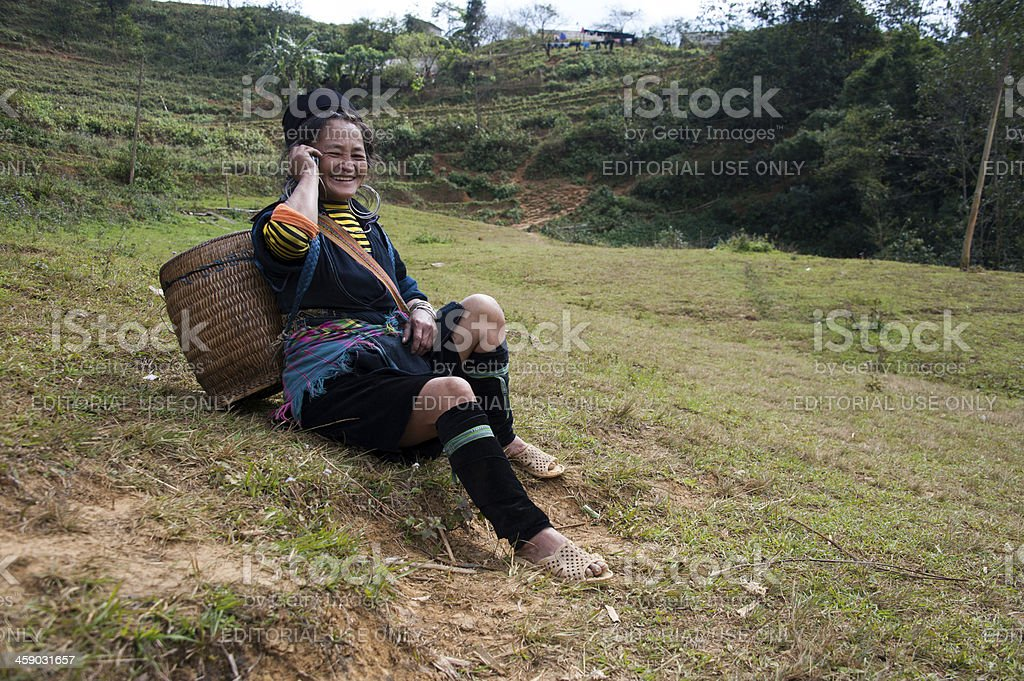 Ethnic Vietnamese Woman on Cell Phone royalty-free stock photo