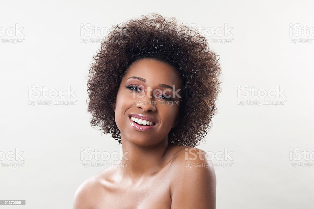 Ethnic woman with an afro stock photo