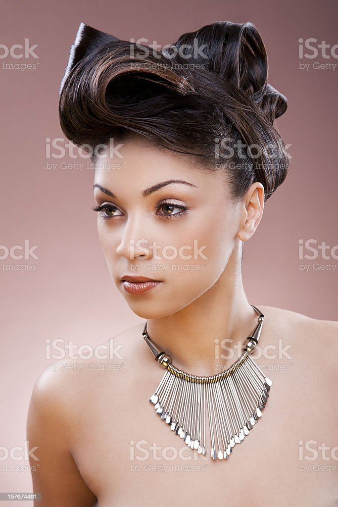 Ethnic woman with updo royalty-free stock photo