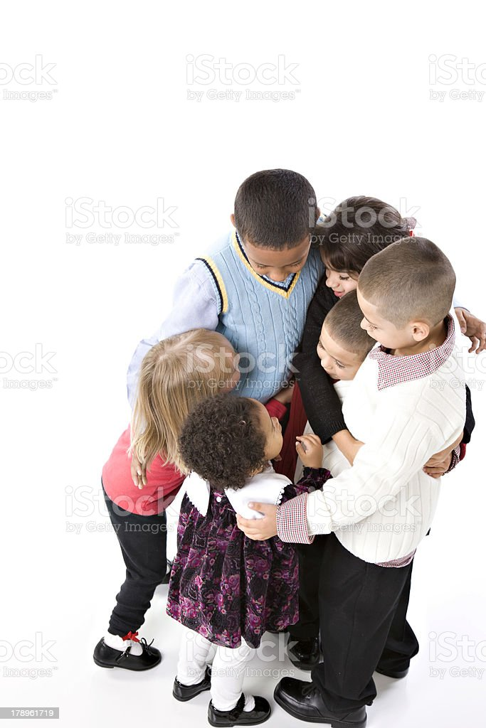 Ethnically Diverse Children in Group Hug royalty-free stock photo