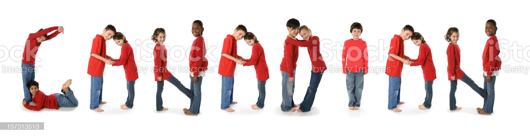 Ethnically Diverse Children Spell Canadian royalty-free stock photo