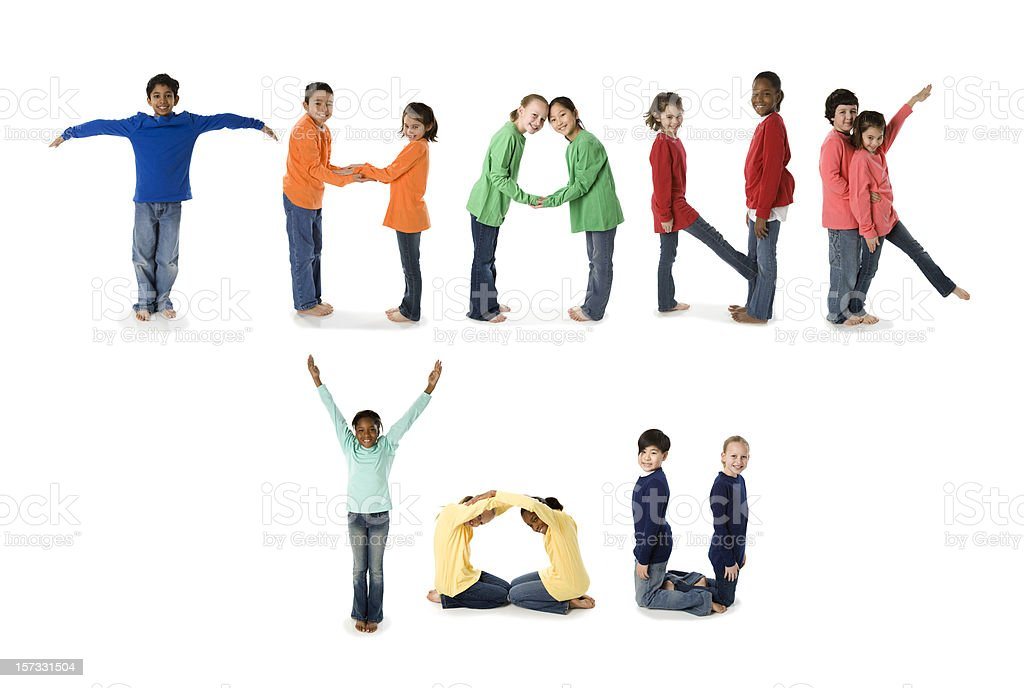 Ethnically Diverse Children Spell Thank You (XXL) stock photo