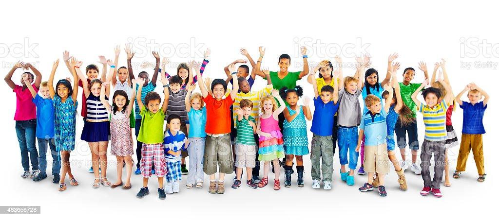 Ethnicity Diversity Gorup of Kids Friendship Cheerful Concept stock photo
