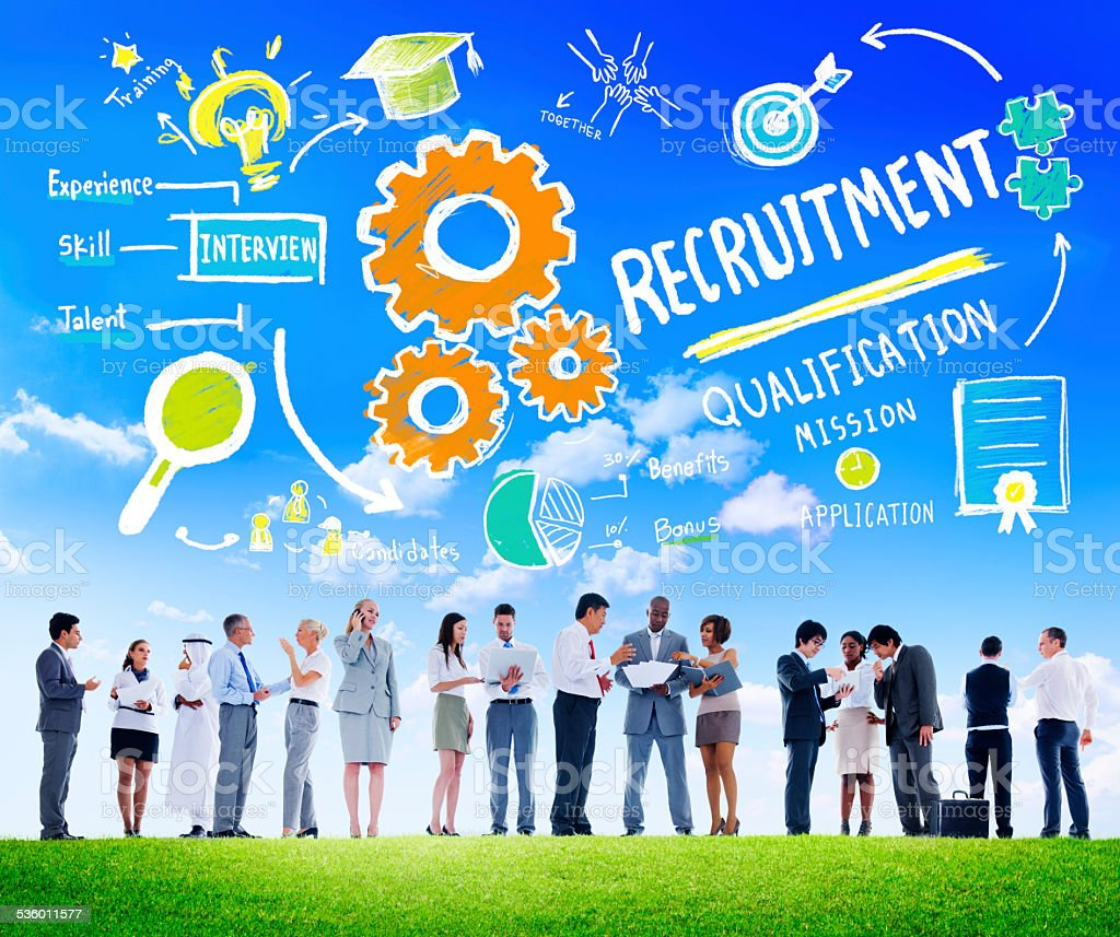 Ethnicity People Recruitment Digital Devices Searching Concept stock photo