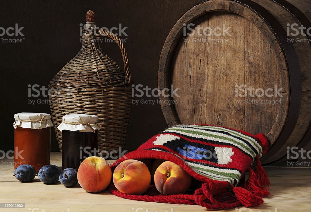 Ethno bag and fruits royalty-free stock photo