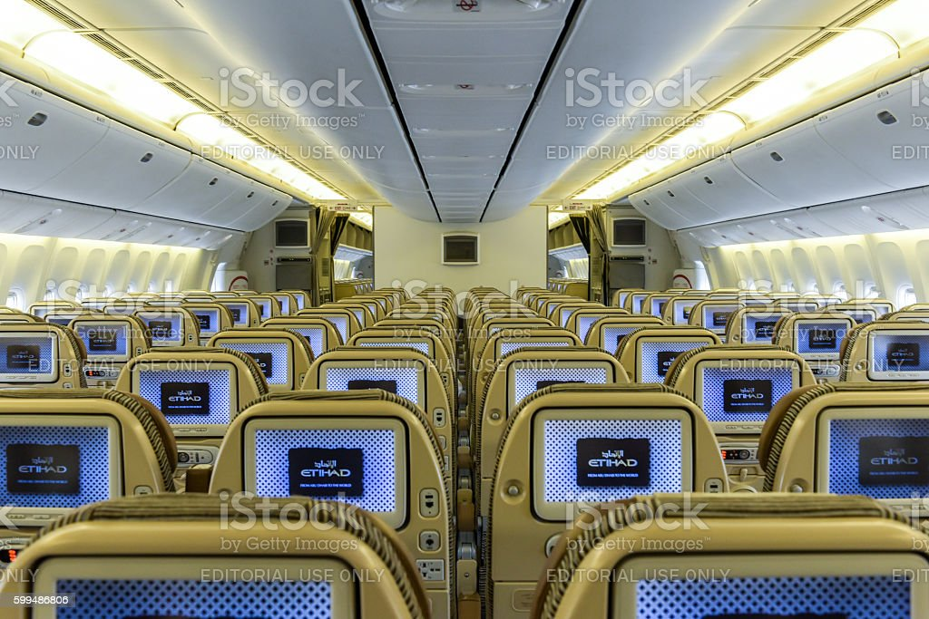 Etihad aircraft interior stock photo