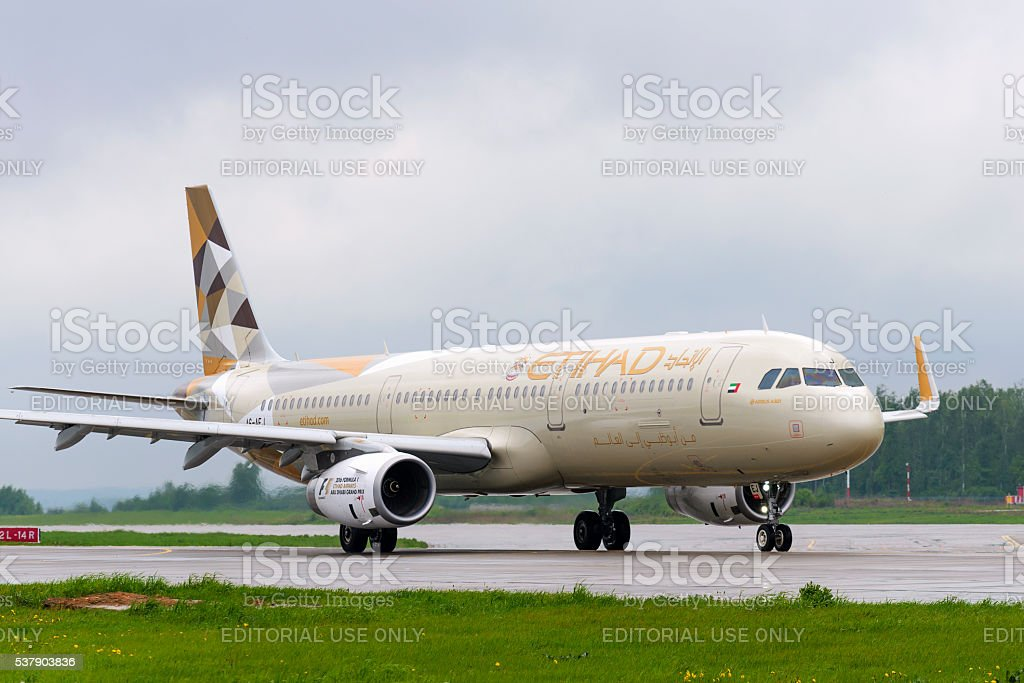 Etihad airlines Airbus A321 taxiing. stock photo