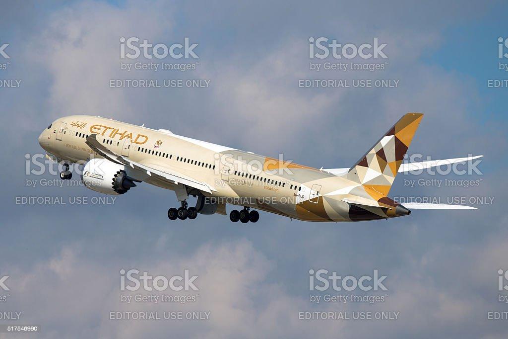 Etihad Boeing 787 Dreamliner stock photo