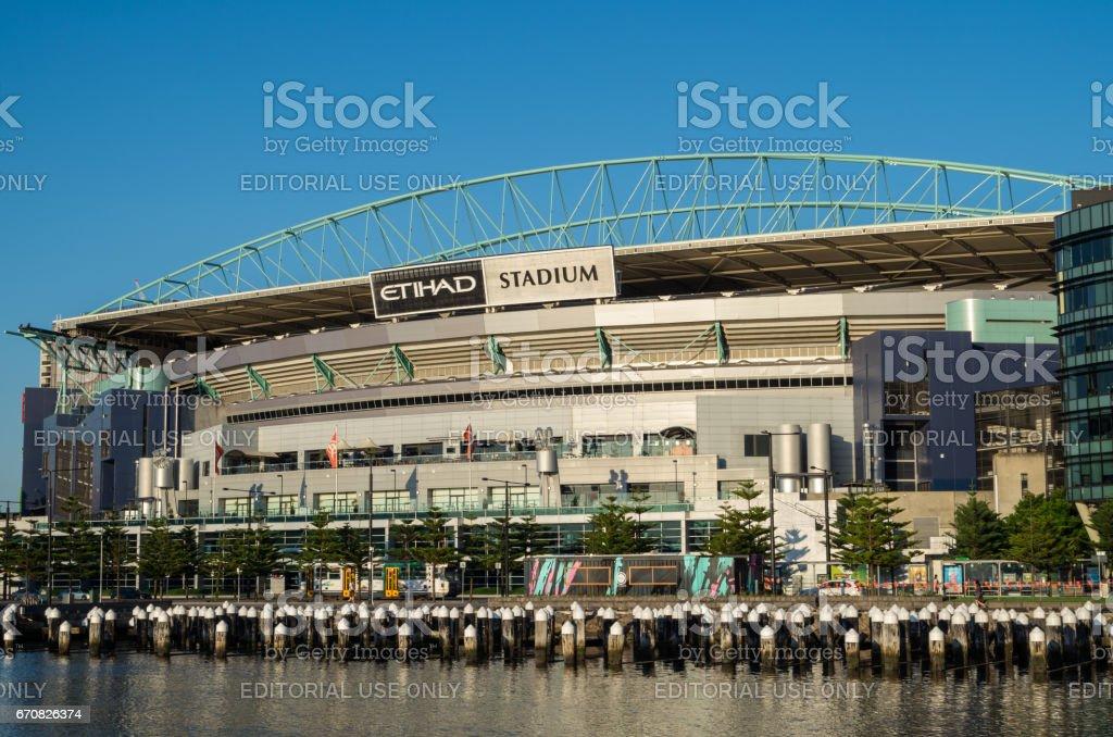 Etihad Stadium in Melbourne Docklands stock photo