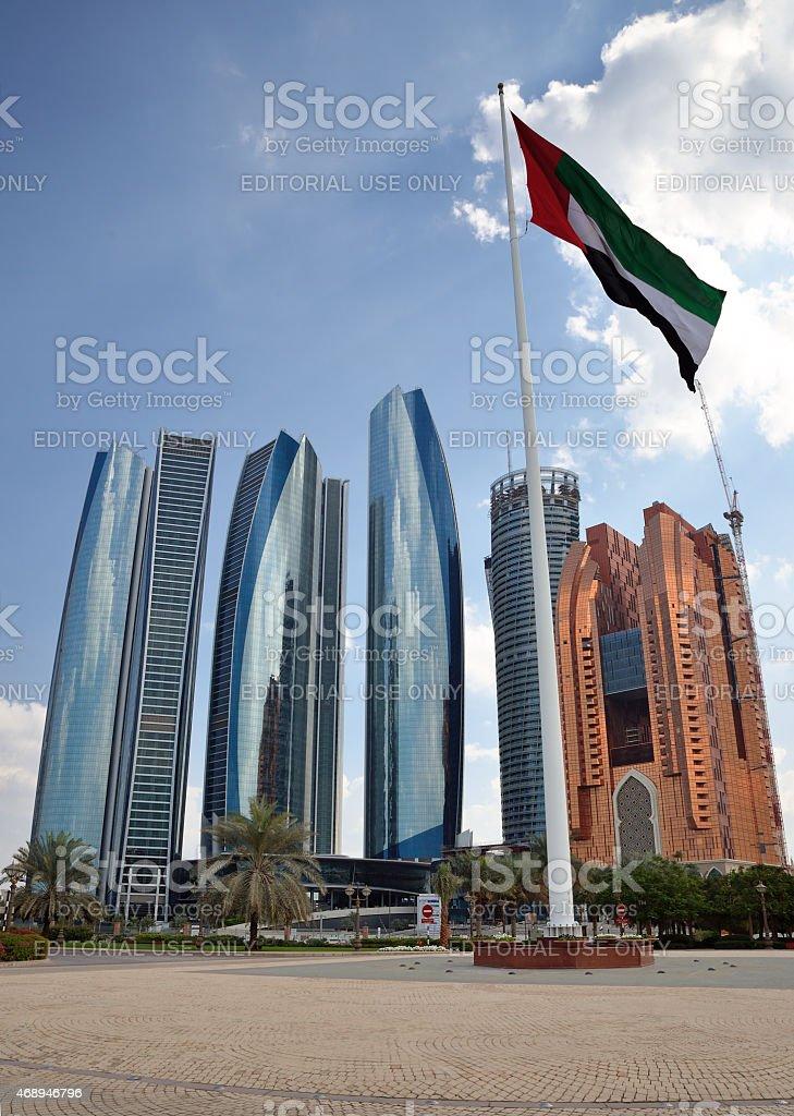 Etihad Towers, Abu Dhabi, UAE. stock photo
