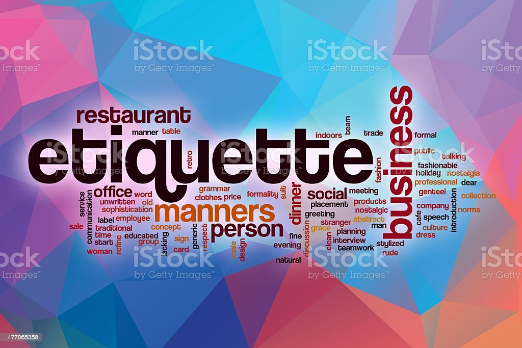 Etiquette word cloud with abstract background stock photo