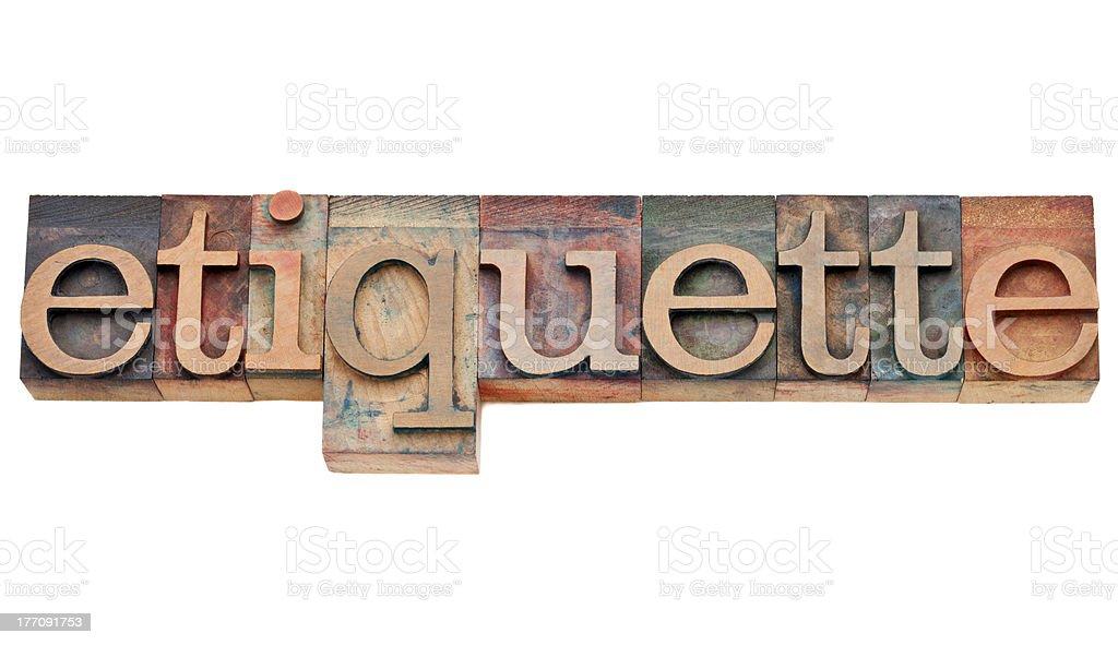 etiquette word in letterpress type stock photo
