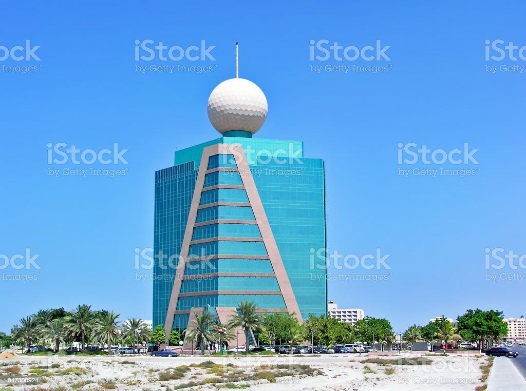 Etisalat building in Ras Al-Khaimah in the United Arab Emirates stock photo