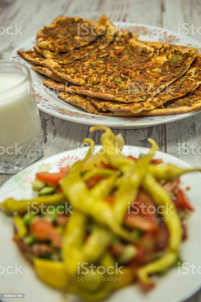 Etli Ekmek - Bread with Meat Turkish Pizza - Turkish Traditional Food stock photo
