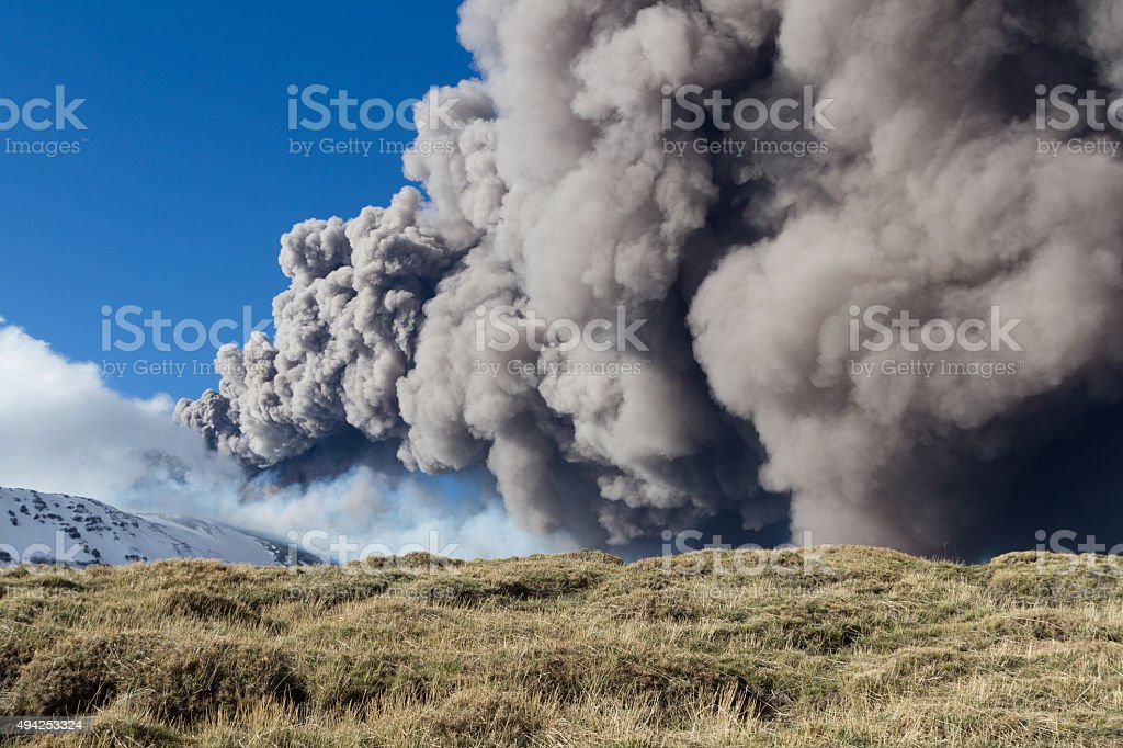 Etna eruption - Catania, Sicily in April, 3 - 2013 stock photo