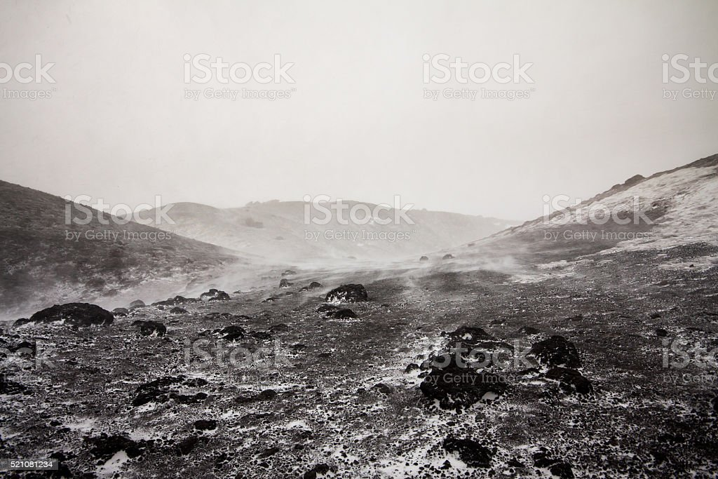 Etna in a snow storm stock photo