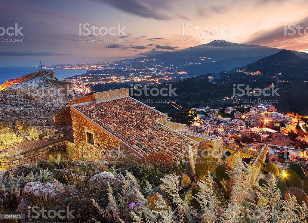 Etna seen from Taormina, Sicily stock photo