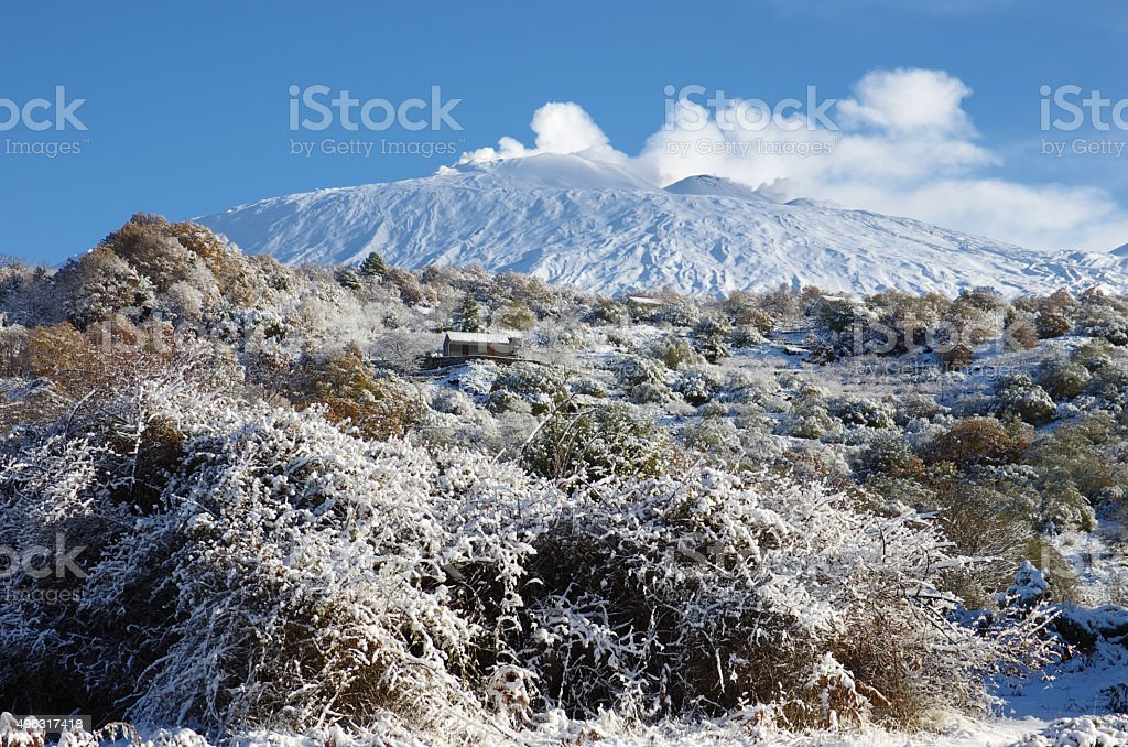 Etna Snow Covered, Sicily stock photo