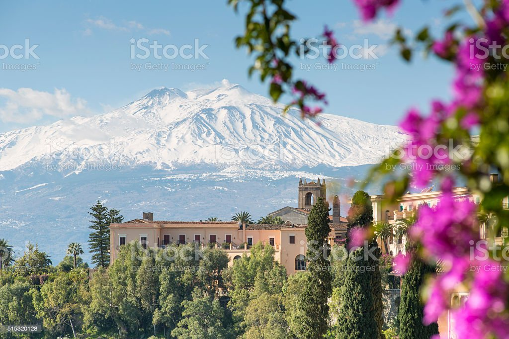 Etna view from Taormina, Sicily, Italy stock photo