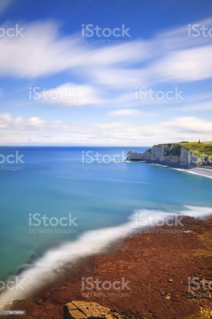 Etretat bay. Aerial view from the cliff. Normandy, France. royalty-free stock photo