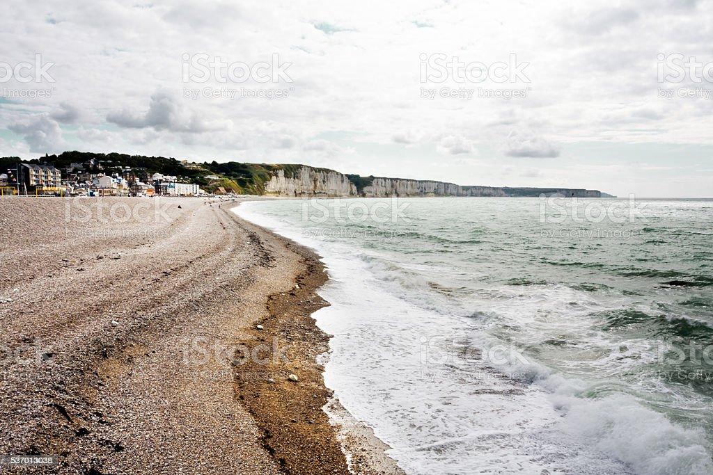 Etretat beach stock photo