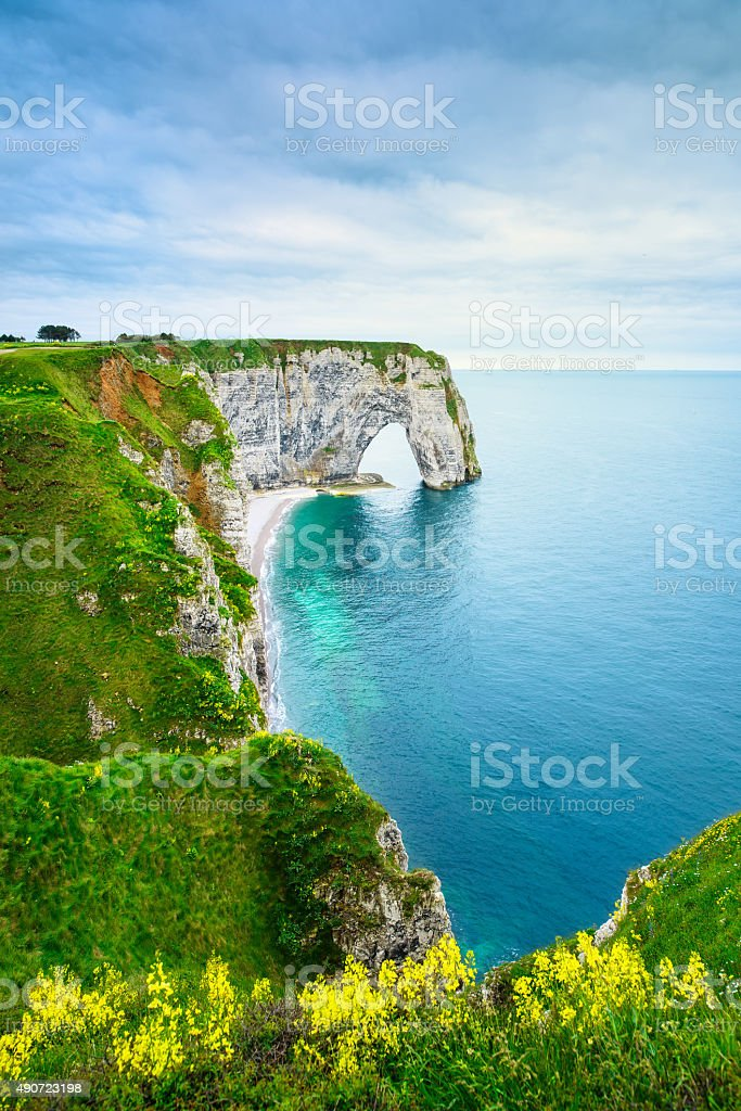 Etretat, Manneporte natural rock arch and yellow flowers. Norman stock photo