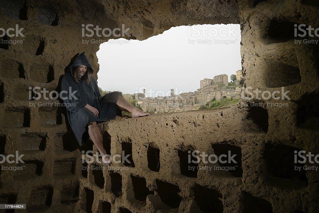 Etruscan monk in Sorano royalty-free stock photo