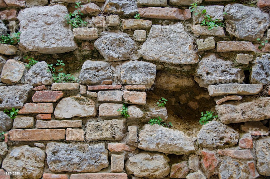 Etruscan Walls Rebuilt in San Gimignano, Italy stock photo