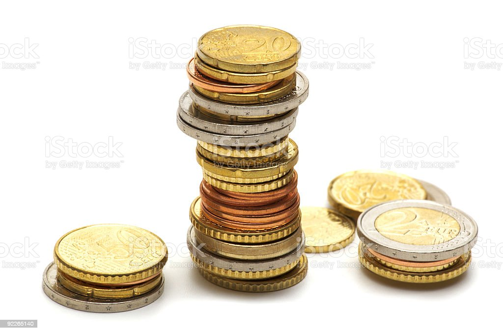 eu coins on white background royalty-free stock photo