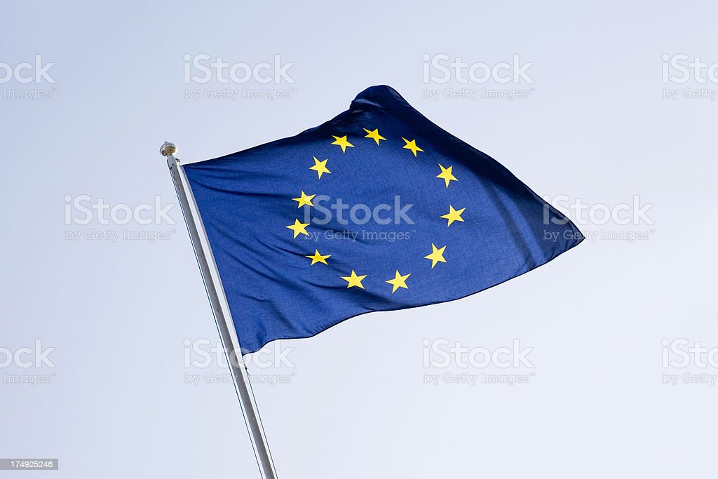 eu flag against sky royalty-free stock photo