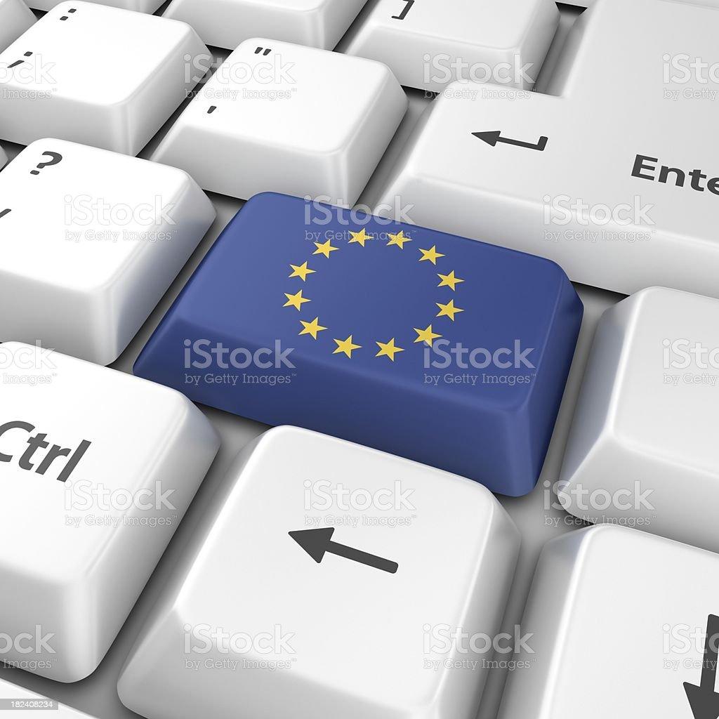 eu flag on computer key royalty-free stock photo