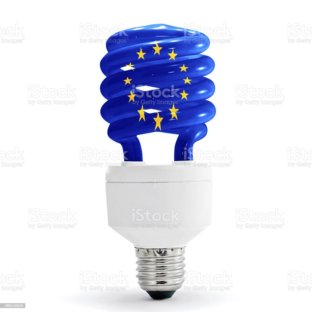 eu flag on energy saving lamp. royalty-free stock photo