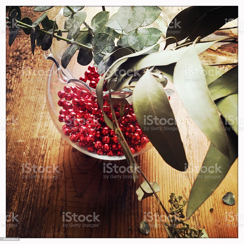 Eucalyptus in Vase with Red Beads stock photo