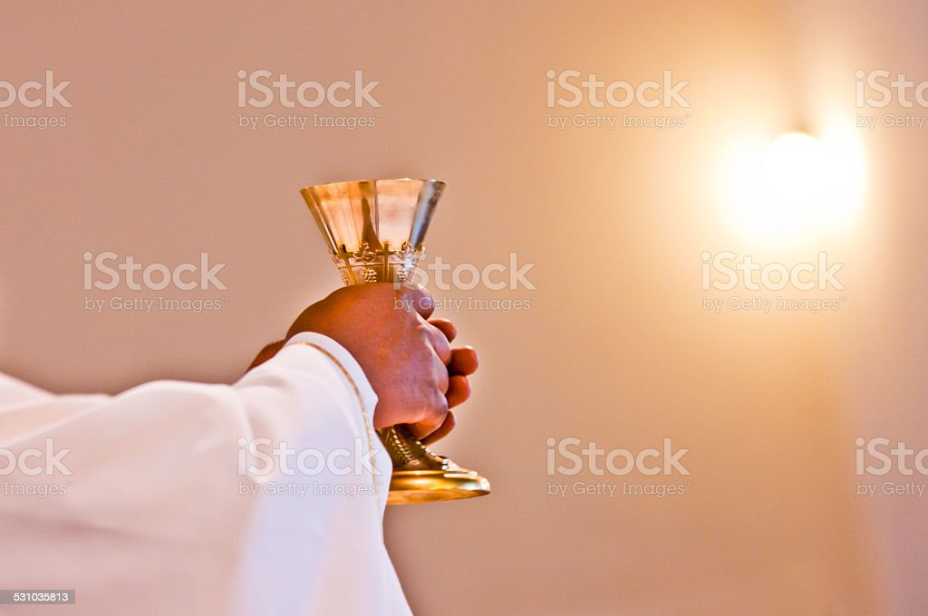 Eucharist of our Lord Jesus Christ stock photo