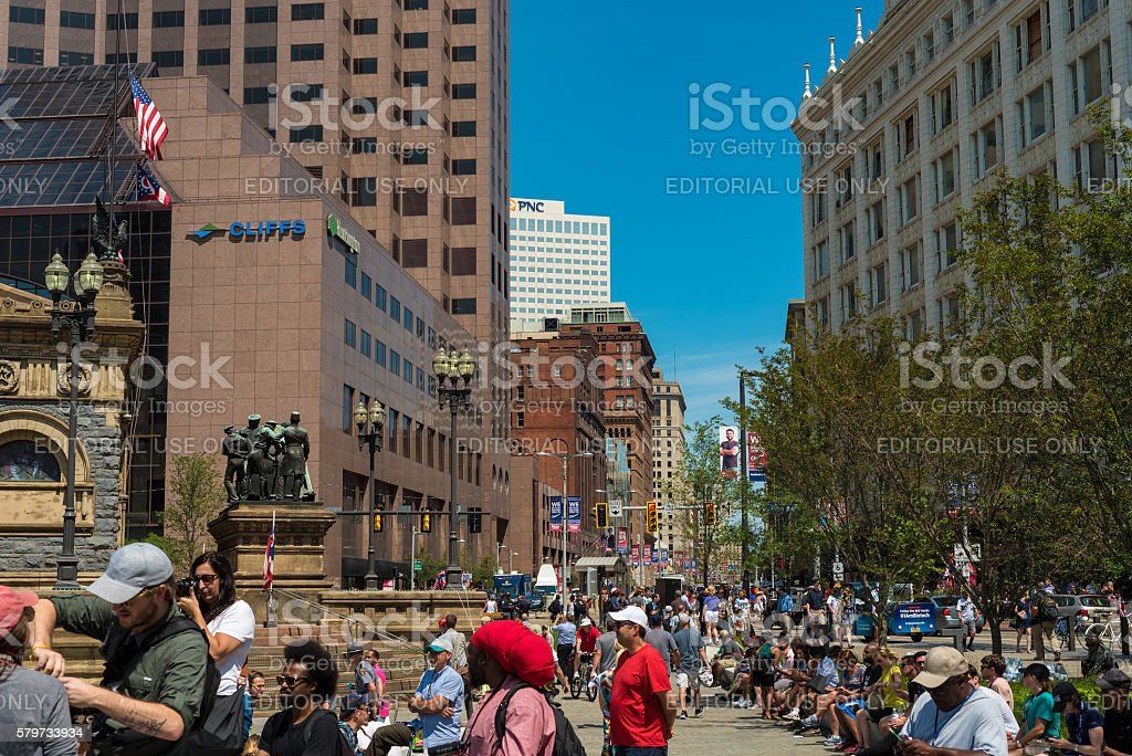Euclid Ave crowds stock photo