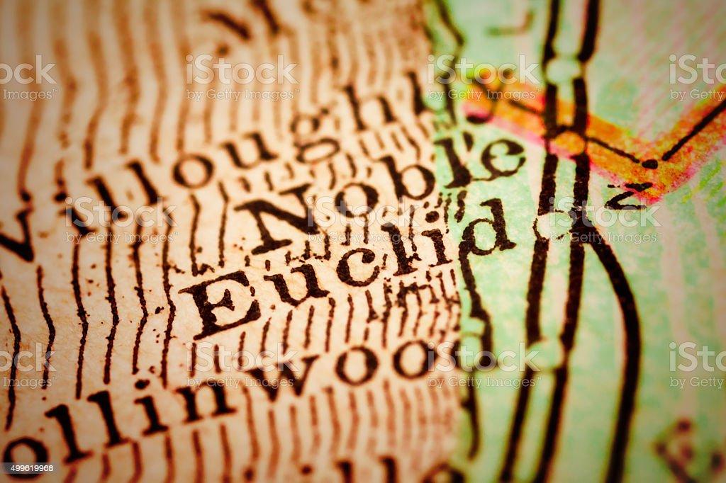Euclid, Ohio on an Antique map stock photo