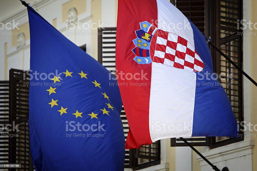 EU-Croatian flags royalty-free stock photo