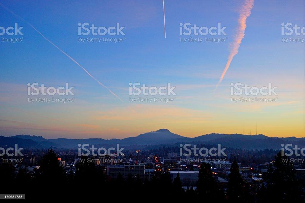 Eugene, OR Sunset stock photo