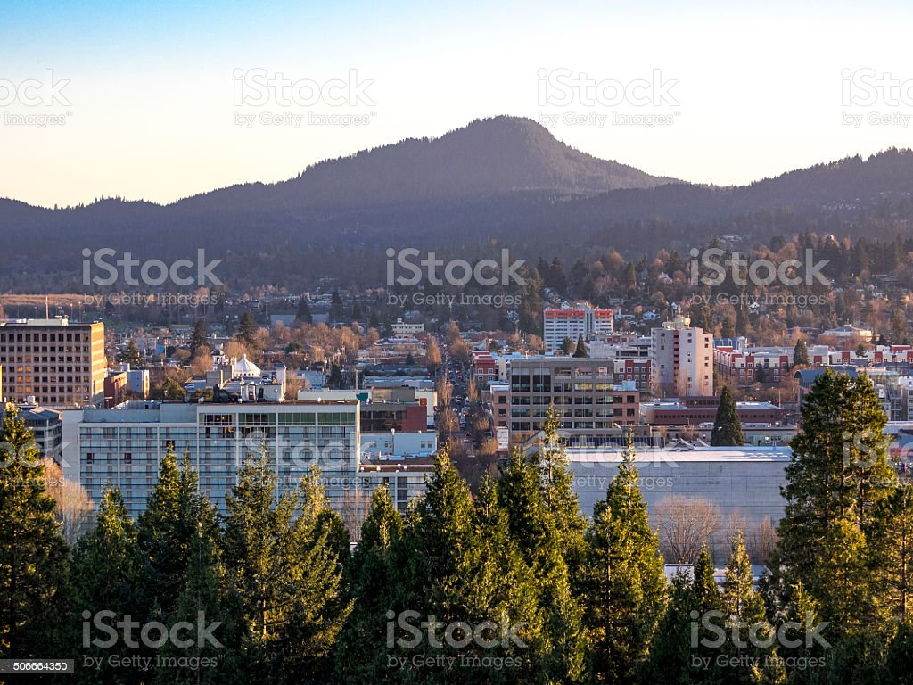 Eugene Oregon Downtown Area from Skinner Butte stock photo