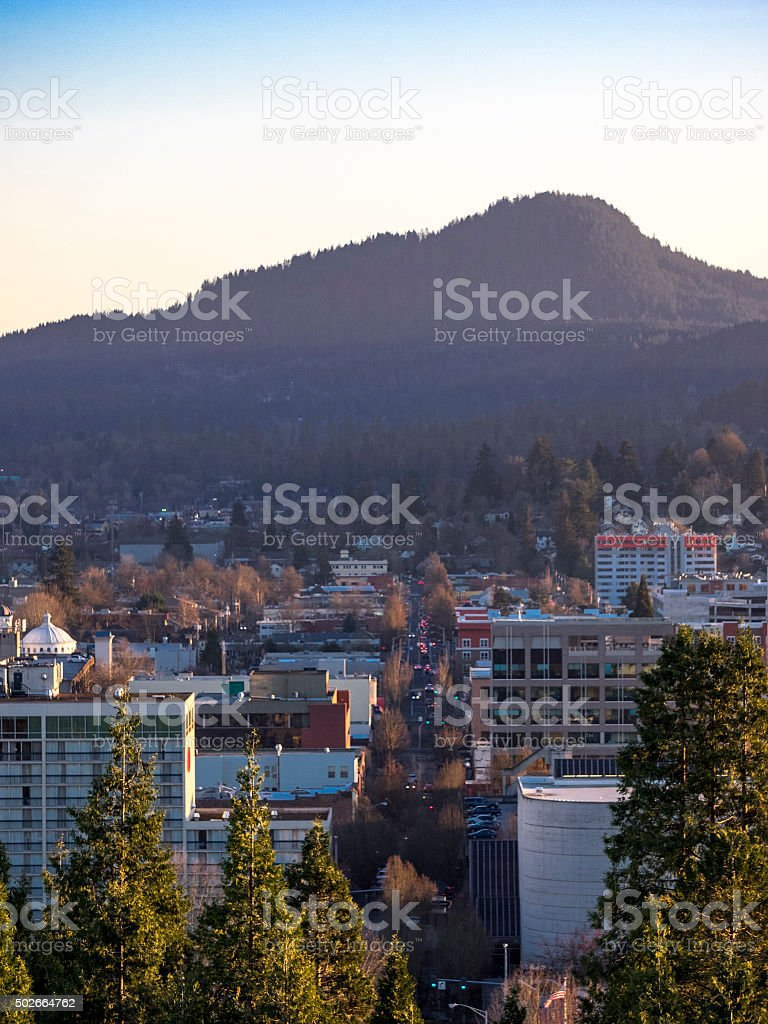 Eugene Oregon Downtown Area from Skinner Butte Vertical stock photo