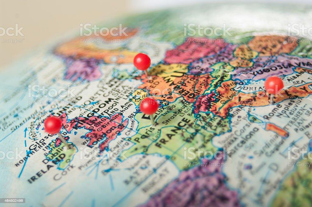 Euorpe and United Kingdom globe stock photo