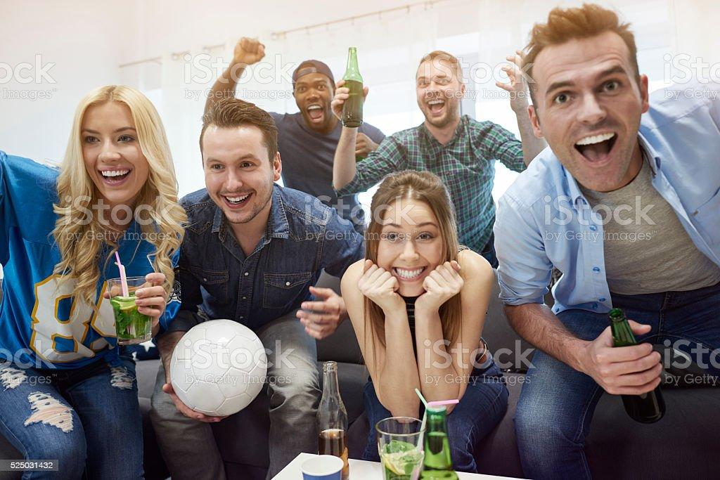 Euphoria after the least goal stock photo