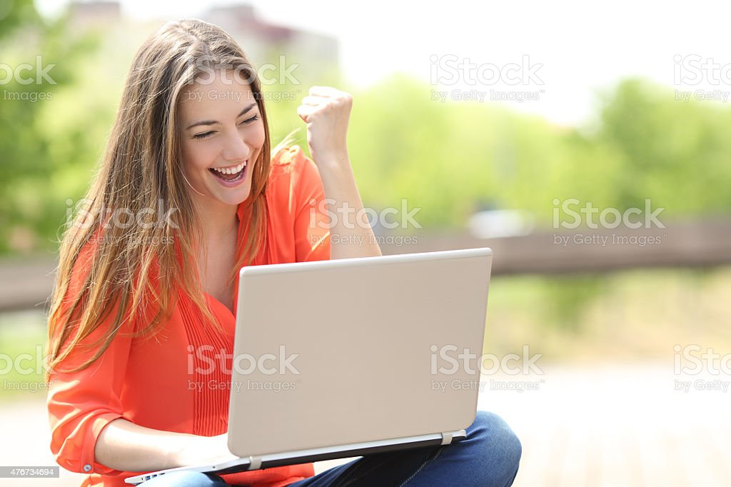 Euphoric woman searching job with a laptop in a park stock photo