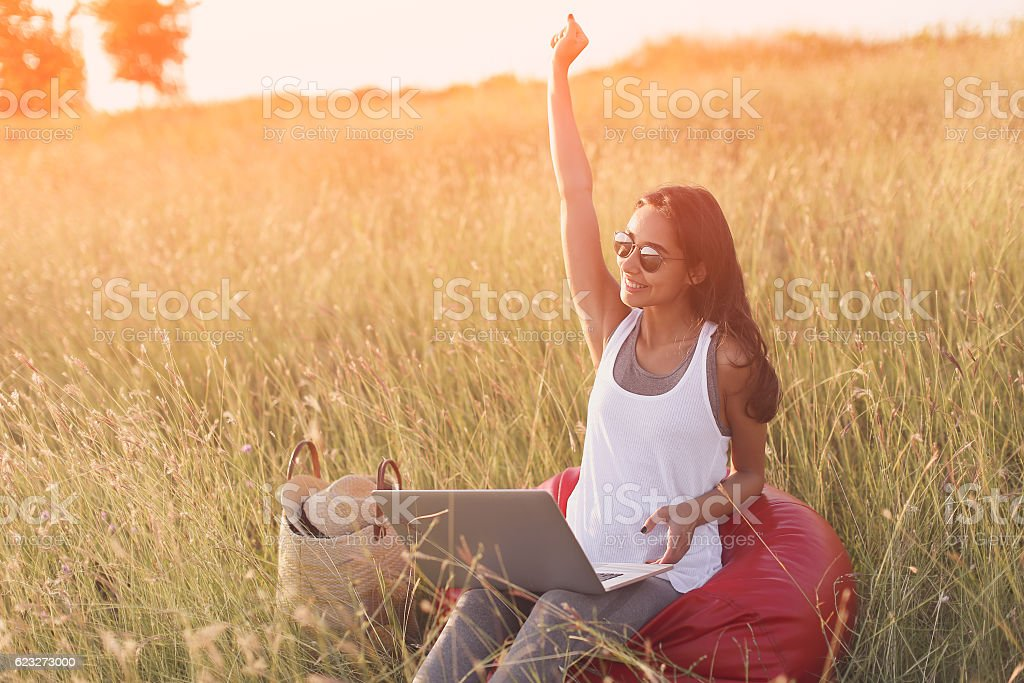 Euphoric woman searching job with laptop in a meadow stock photo