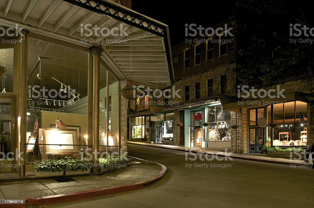Eureka Springs City Street at Night stock photo