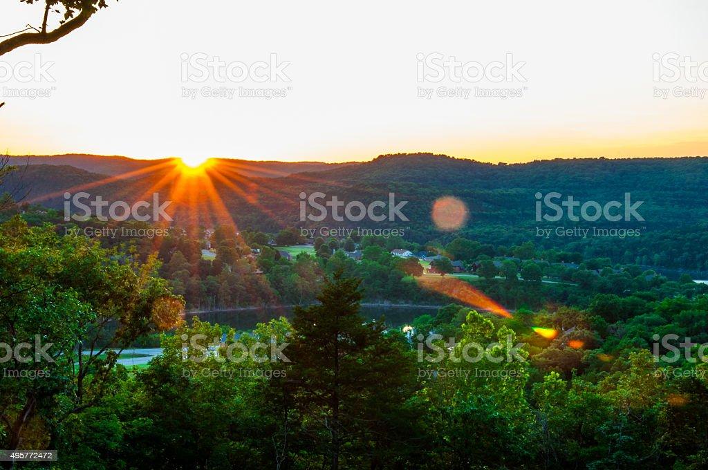 Eureka Springs Sunset stock photo
