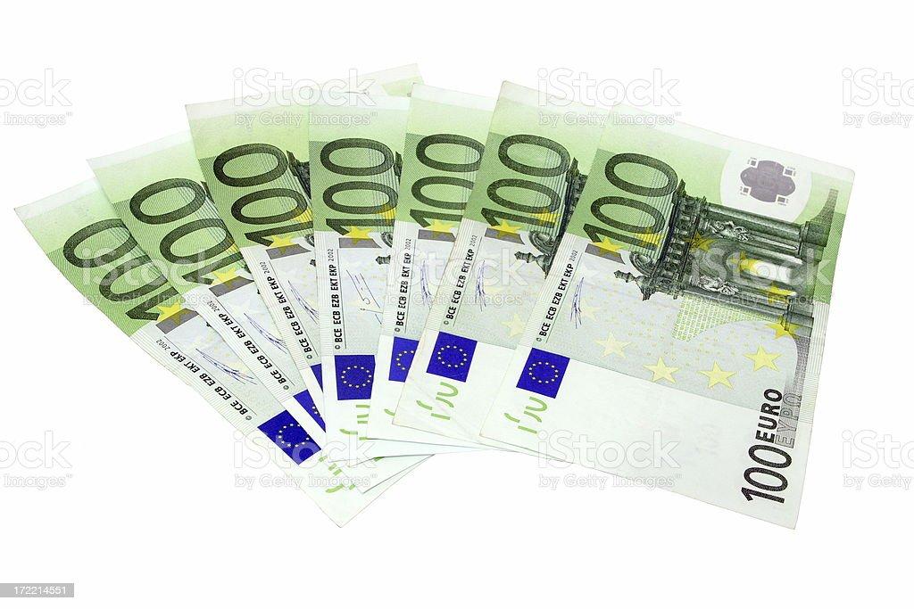 Euro 100's isolated on white stock photo