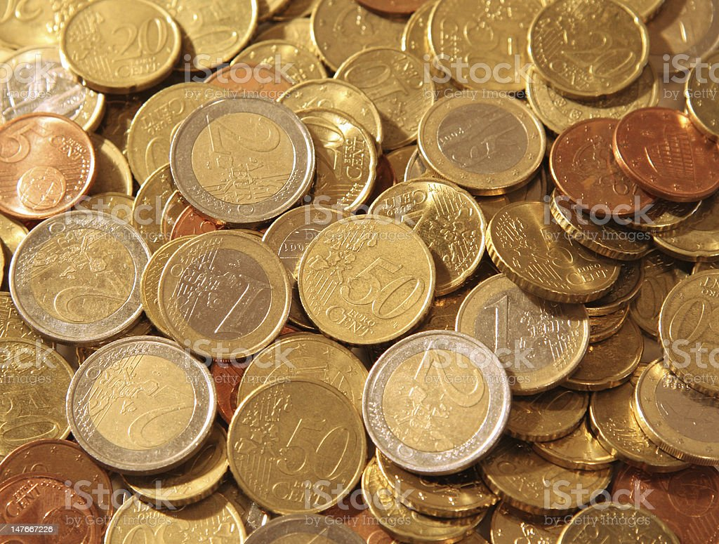 Euro and cent coins stock photo