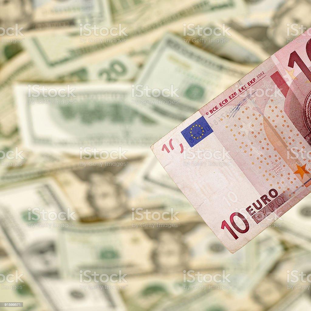 Euro and Dollar Bills royalty-free stock photo