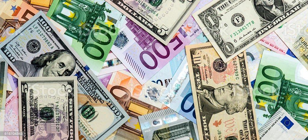 Euro and Dollar stock photo